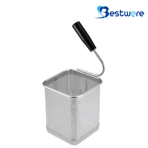Single Handle SS Pasta Basket (Square)